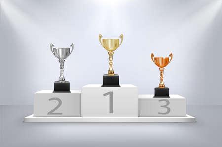 award cups on pedestal with light vector illustration