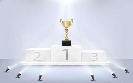 golden award cup on award podium with spotlights vector illustration Иллюстрация