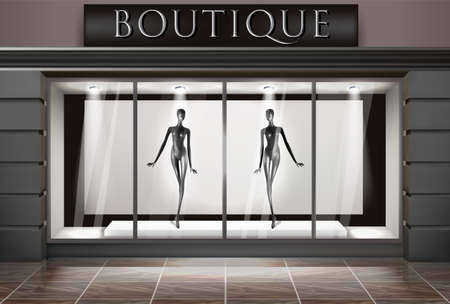 Boutique showcase. Clothing store, footwear. Glass showcase. Vector illustration.