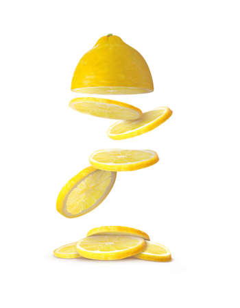 half lemon and falling slices of lemon on white background vector illustration Vector Illustratie