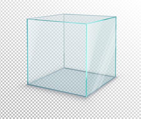 empty glass showcase cube on transparent background. Vector illustration Vecteurs