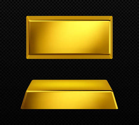 Vector gold bar isolated on dark transparent background Ilustração