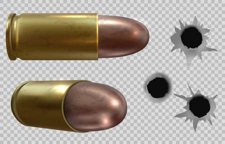 Bullets and bullet holes isolated transparent background. Vector illustration Stock Illustratie