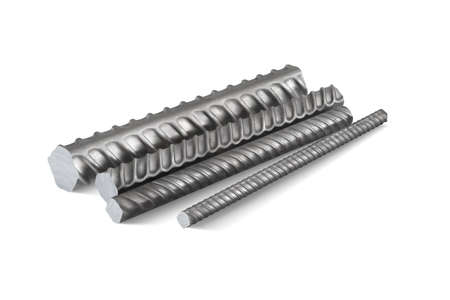 Ribbed metal reinforcement rods for building reinforcement. 3d vector illustration