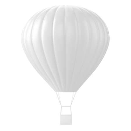 Realistic hot-air balloon white mockup.Vector illustration Vetores