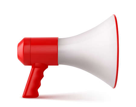 Red and White Megaphone Isolated on White Background. Vector illustration Vettoriali