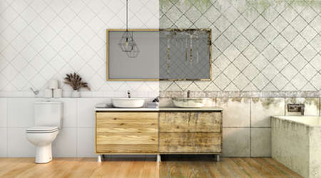 3d render of dirty and clean bathroom  3d illustration