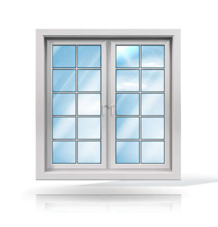 Wooden window. Vector illustration isolated on white background. Vetores