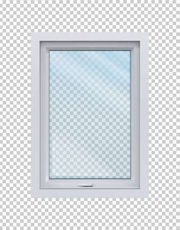 Wooden window. Vector illustration isolated on white background.
