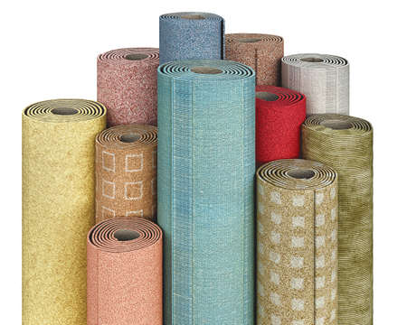 Rolls of linoleum in various colors, patterns, textures on a white background, 3d illustration