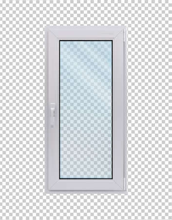 White narrow window in side view on a transparent background. vector illustration