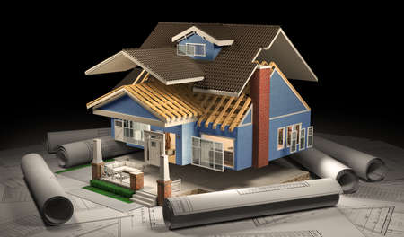 Sliced  house with furniture and blueprints in the dark. 3d illustration Stock fotó