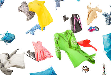 Clothes are falling on a white background