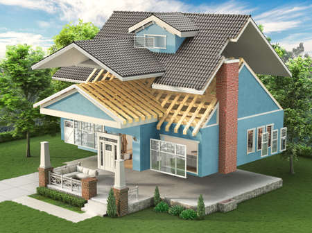 Sliced  house with different facade materials at the garden. 3d illustration Stock fotó