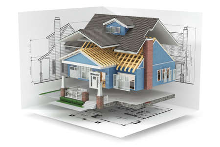 Sliced  house with furniture and blueprints on white background. 3d illustration