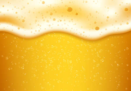 Lager beer foam and bubbles. Vector realistic background