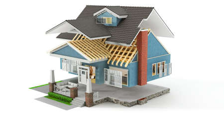 Sliced  house with different facade materials on a white background. 3d illustration