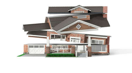Sliced  house in different directions  on a white background. 3d illustration Stock fotó