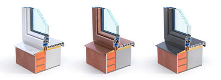 Set of windows on the piece of wall. See structure and layers. 3d illustration Stock fotó