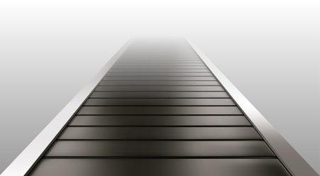 Empty conveyor belt isolated on white background