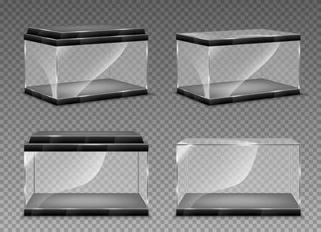Realistic transparent aquarium. Vector illustration isolated on transparent background