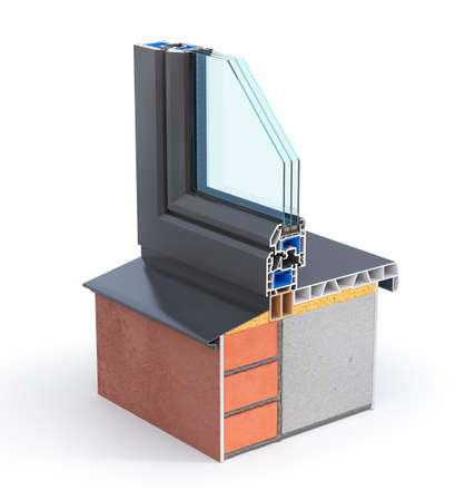 Slice of window in the wall. See structure and layers. 3d illustration Stock fotó