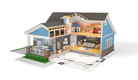 Sliced  house with furniture and blueprint on white background. 3d illustration
