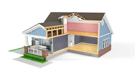 Sliced  house on a white background. 3d illustration Stock fotó