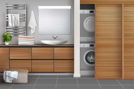 Vector modern wooden bathroom with laundry. 3d realistic illustration. Illusztráció