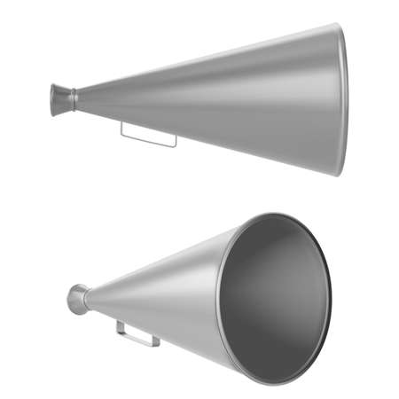 old metal megaphone isolated on white background. vector illustration