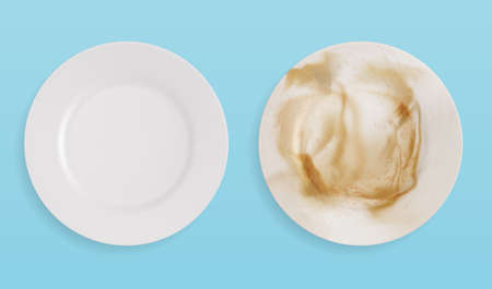 Top view of clean and dirty plates. vector illustration