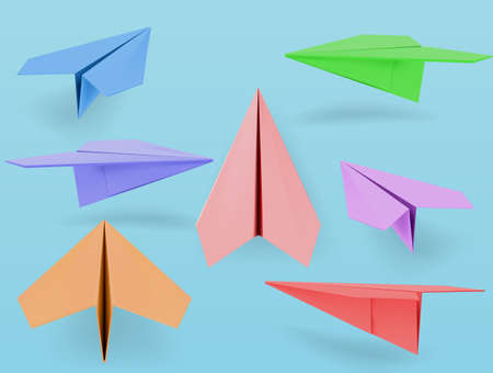 set of fold paper airplane inculde side and front view. vector illustration