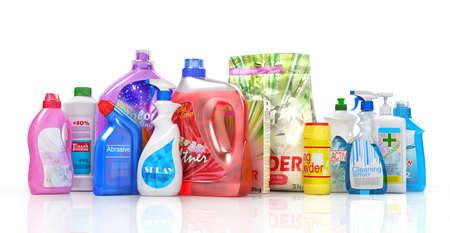 Different detergent bottles on a white background. 3d illustration