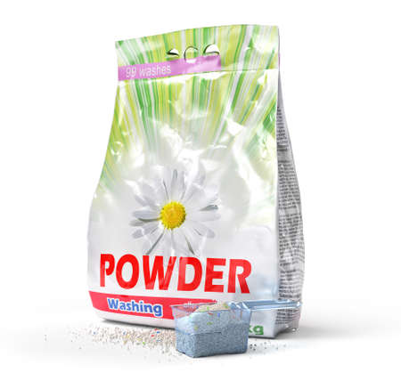 Washing powder in the measuring cup and package. 3d illustration Stock fotó