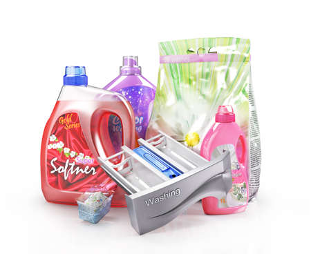 Set of detergents with measuring cup and package. 3d illustration Stock fotó