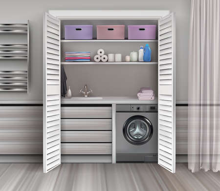 Light 3d illustration of realistic vector laundry room interior with washing machine and storage space. Illusztráció