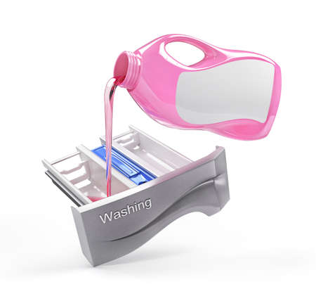 Detergent is pouring from bottle to the tray. 3d illustration