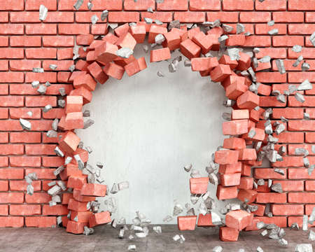 A hole in red brick wall with blowing pieces of bricks and plaster and the wall beside the hole, 3d illustration