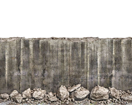 Half destroyed wall with the fallen stones near, 3d illustration