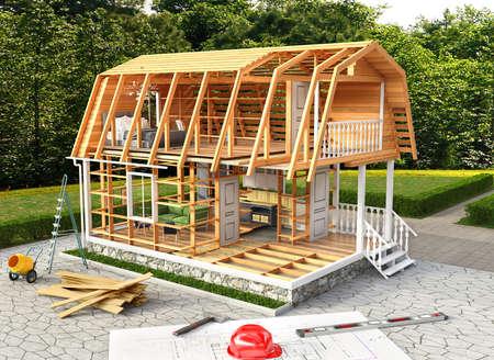 modern cottage construction 3d illustration