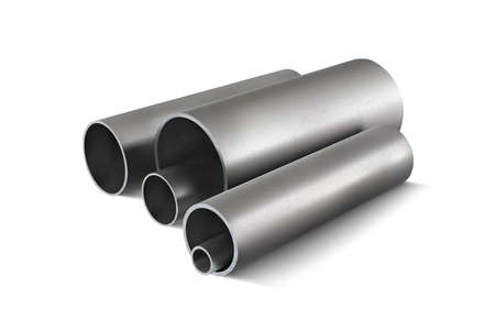 Metal pipes for steel structures. 3d vector illustration