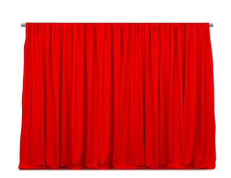 Realistic vector red curtains or drapes isolated on white background Ilustración de vector