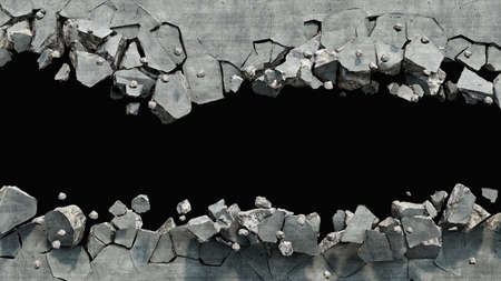 Destroyed wall cracked on two parts with a hole in the middle, 3d illustration Stock fotó