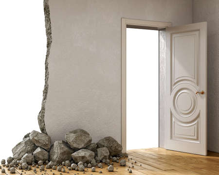 Destroyed wall and fallen stones with an open door on the side, 3d illustration