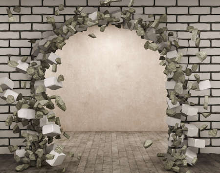 A hole in white brick wall with blowing pieces of bricks and plaster and the room beside the hole, 3d illustration Stock fotó