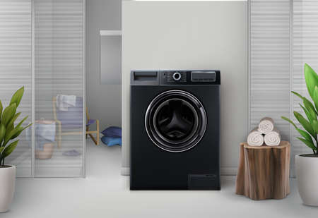 Washing machine in black color on the background of a light stylish interior. Vector 3d realistic illustration.