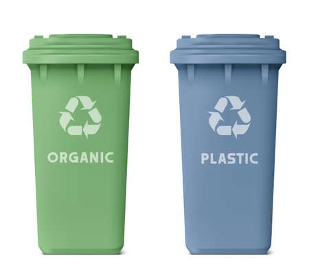 Two color of recycle trash bin,  green and blue isolated on white background.