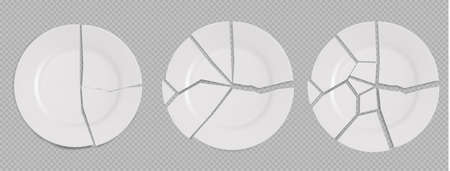 Three Broken white plates isolated on transparent background