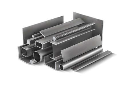 Set 2 of metal parts for metal structures. 3d vector illustration