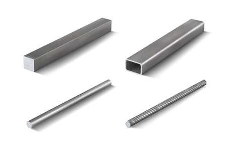 Set 4 of metal parts for metal structures. 3d vector illustration Illusztráció